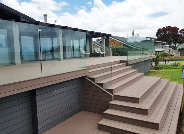 composite deck with steps and glass balustrade-Baywood Constuction-Bay of Plenty